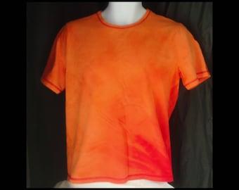 Acid washed large shirt Jones Sport bleached tee acid wash orange red fade carrot flames fire hot cinnamon mango tangerine (shirt no. 131)