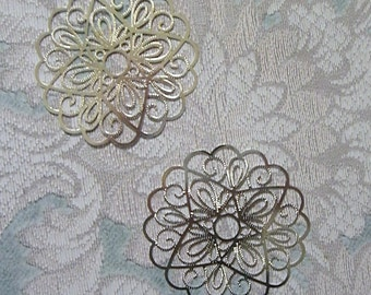 "50mm Bright Silver Plated Brass ""laser lace"" Filigree Finding (2)"