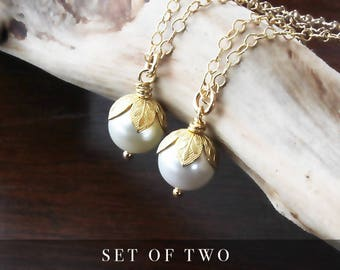 Pearl necklace, single pearl necklace, gold pearl necklace, 2 pearl necklace, pearl jewelry, white pearl necklace, SET of 2, pearl pendant