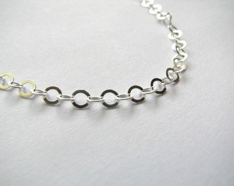 Sterling Silver Flat Round 4mm Cable Link Chain Necklace 30 inch