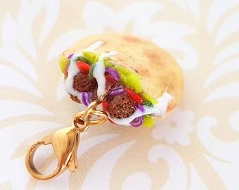 Handmade Falafel Sandwich Charm - Miniature Food Jewelry Falafel - Polymer Clay Food Falafel Charm - Middle Eastern Food Charm