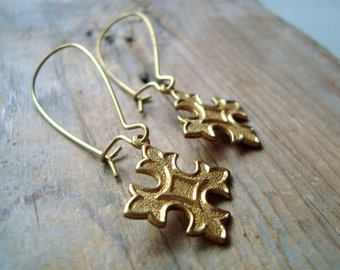 Brass Cross Earrings Whimsical Simple Gifts Under 20 Spiritual Religious Jewelry Gothic Gifts For Her Long Dangles Steampunk Punk Rock