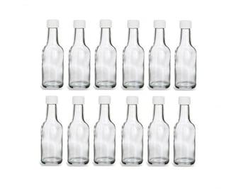 12 pcs 50 ml Round Glass Liquor Bottles with White Cap