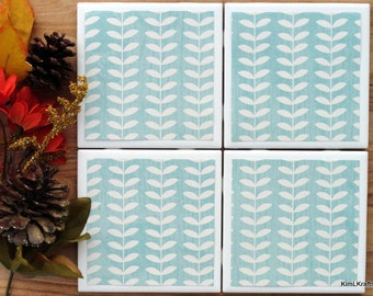 Table Coasters - Leaves Coasters - Coaster - Tile Coaster - Coasters for Drinks - Coasters Tile - Fall Decor - Handmade Coasters - Coasters