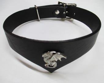 Leather Drop Front Dragon Design Fashion Choker