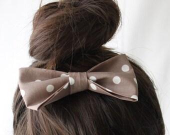 Large Fabric Hair Bow Mocha Dot- Hair Clip