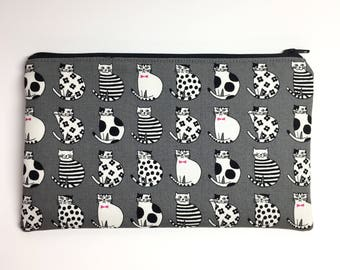 Pencil Case Zip Pouch - Dapper Cats