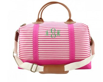 Pink Striped Weekender Bag- Monogrammed Weekender Bag- Monogram Canvas Duffel- Personalized Duffle Bag- Overnight Bag- Gifts for Her