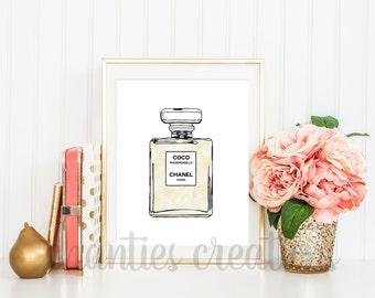 Coco Mademoiselle Perfume Watercolor Printable Wall Art. Coco Chanel Printable Wall Art. French Decor. French Wall Art.