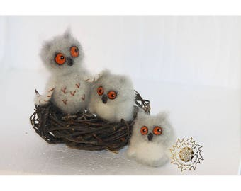 Needle felted Owls In the nest