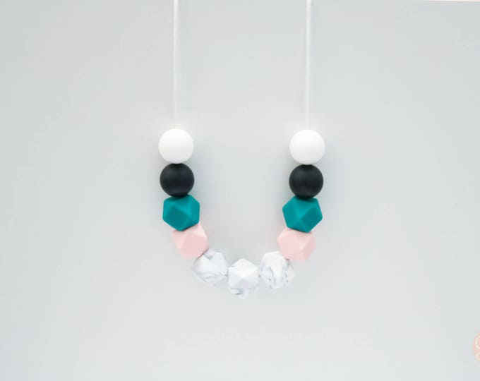 Wendy Silicone Beaded Green, Pink and White Necklace.