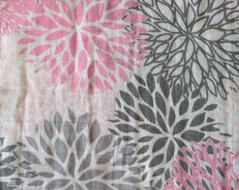 Pink & Gray Mums Double Gauze Swaddle Blanket - Pink - Grey - Floral - Flowers -  Baby Crib Blanket - Baby Gift - Hannahs Homestead2