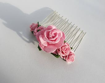 Bridal Hair Comb, Pink Hair Comb, Floral Hair Comb, Baby Pink Headpiece, Bridal Hair Accessories, Flower Hair Comb, Light Pink Hair Comb.