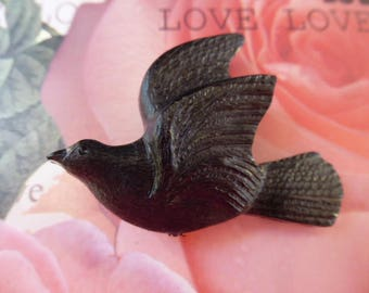 brooch bird Black 4.8 cm mounted on PIN