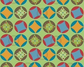 Riley Blake Fabric, Hooty Hoot by Doohikey Designs, C3013 Green Starburst