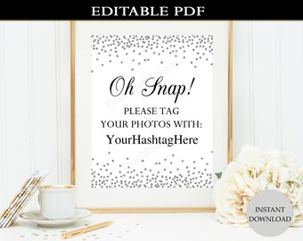 Wedding Hashtag sign (INSTANT DOWNLOAD) - Hashtag wedding sign - Hashtag printable - Instagram Birthday W002