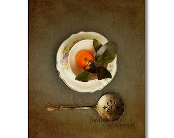 Orange Tea Satsuma Fruit Photography, Vintage Teacup Saucer Tarnished Silver Spoon Still Life Photo, Dark Grey Green Kitchen Food Photograph