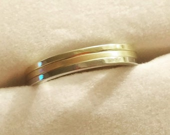 TAX Season Sale 14 kt White and Yellow Gold Classic Stackable 1mm Wide Commitment or Wedding Band Custom made Size 4 through 12