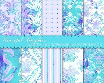 Scrapbook Paper Pack Digital Scrapbooking Background Papers 10 Sheets 8.5 x 11 TEXTURED Turquoise Purple Feather Leaf Fans DAMASK 1859gg
