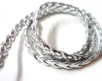 5 YARDS Silver Faux Leather Braided Ribbon Trim 0.3 '' for Crafts, Sewing , Accessories