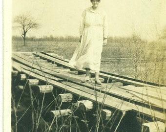 1920s Woman Standing on Railroad Track Train Bridge Toledo Ohio 20s Vintage Photograph Black White Photo