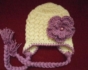 Crochet earflap hat Baby girl winter hat Newborn girl hat Cream baby girl hat Baby earflap hat Newborn winter hat Baby girl hat