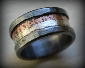 mens wide band ring - Marriage of Metal fine and sterling silver with copper oxidized - handmade artisan designed wedding band - customized