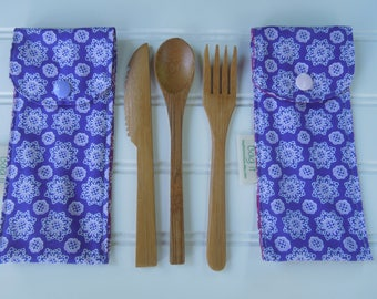 Reusable bamboo cutlery and carrying pouch  - Picnic cutlery case - Flatware pouch - Bamboo cutlery - Purple and lilac flowers