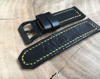Black watch strap hand sewen Watch band 20mm 22 mm watch band 24 mm watch band 26 mm Black leather watch band Yellow thread Black pvd buckle
