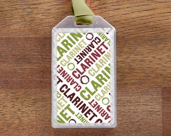 Clarinet Instrument ID Tag or Luggage Tag for Musicians