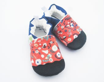 Classic Vegan Flower Garden in Coral / Non-Slip Soft Sole Baby Shoes / Made to Order / Babies Toddler Preschool