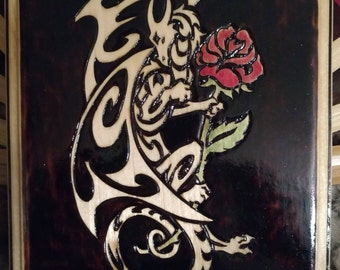 Dragon and Rose Plaque