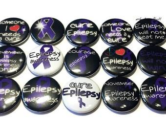 "Epilepsy Magnet, 1"" Button Magnet, Purple Ribbon Magnet, Epilepsy Theme, Epilepsy Awareness, Epilepsy"