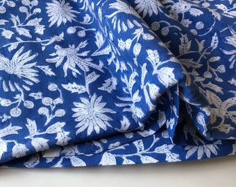 Hand Block Print, Indian Cotton Fabric, Hand Stamped Fabric Print, Indian Mulmul, Floral Print, Fabric By the Yard, Sewing Quilting Fabric