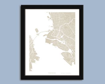 Alameda map, Alameda city art map, Alameda wall art poster, Alameda CA decorative map