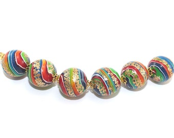 DIY jewelry gift for women, polymer clay beads, delicate rainbow marble sphere bead bracelet & bead necklace, 6 pcs.