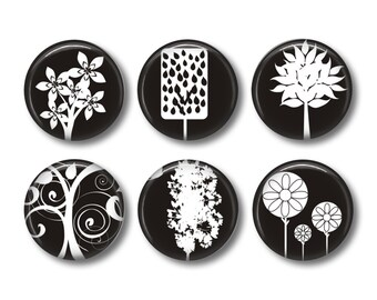 Black and white tree pinback button badges or fridge magnets, fridge magnet set