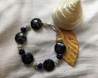 Cobalt blue raku lampwork glass bead bracelet