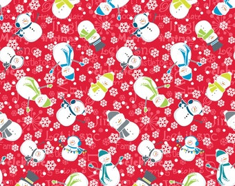 Snowman in Red from the Mulberry Lane Collection by Cherry Guidry for Contempo Studios, Christmas Fabric, Winter Fabric