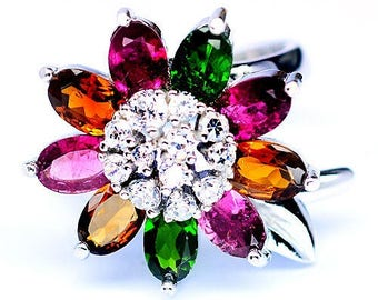Gold plated S925 silver ring white Tourmalines and Zirconium