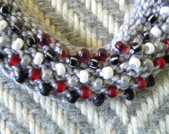 Crayon Box Handknit Beaded Necklace