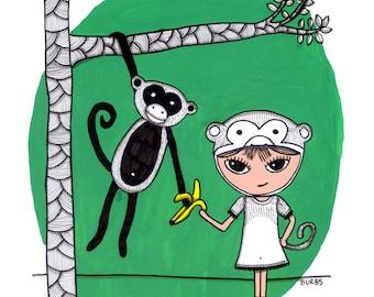 Little Burb and Monkey Print