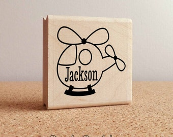 Personalized Helicopter Rubber Stamp, Transportation Stamp with Name