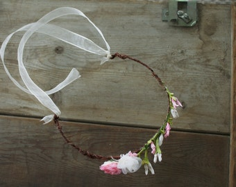 Rustic Pink & White Rose petal Headband, Hairpiece, Vintage Inspired, Headpiece, Wedding, Hair Accessory, The Pixie Rose Canyon Style # 1004