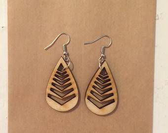 Leaf/droplet: Laser cut earrings by Kane Designs