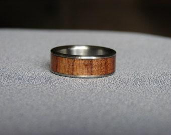 Mesquite wood, titanium ring, band, titanium rings, titanium and wood rings, wood inlay, mesquite, wedding rings, titanium, exotic hardwood