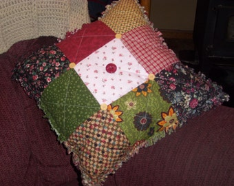 Handmade PILLOW, QUILTED , Cottage Decor, Country Decor, Red, Green, Pink, Farmhouse Decor, Cushion, Home and Living, Home Decor, Rag Style