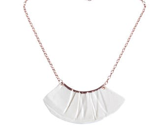 RUCHED No1 porcelain and rose gold necklace