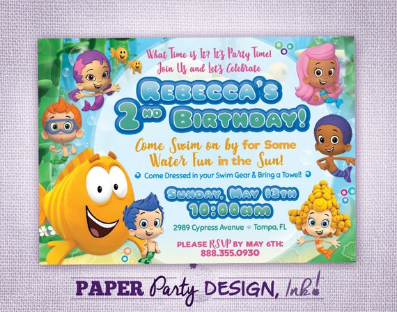 Bubble Guppies Birthday Party Invitation Bubble Guppies Party
