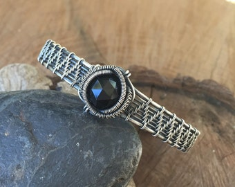 Wire Wrapped Bracelet - Black Onyx Bracelet - Wire Wrap Cuff - Sterling Silver Bracelet - Wire Wrapped Jewelry - Handmade